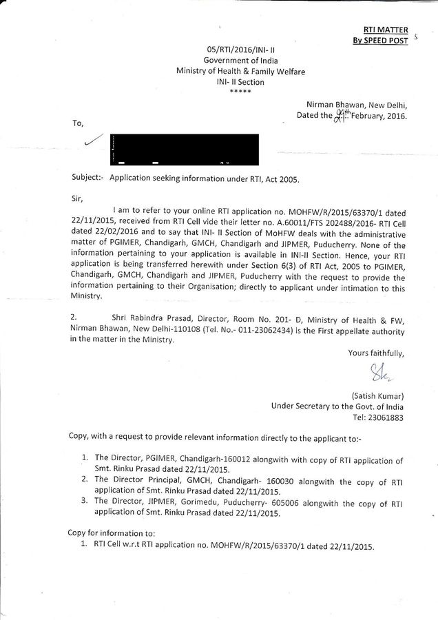 Here's the RTi reply that passed the buck to individual Medical institutions ; basically telling us