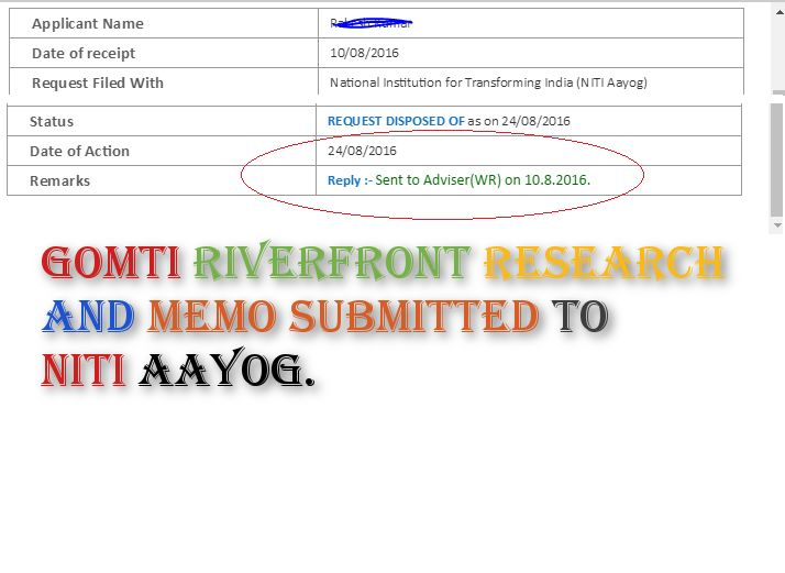 Gomti Riverfront Development - Got a response from NITI Ayog on the research report and questions ra
