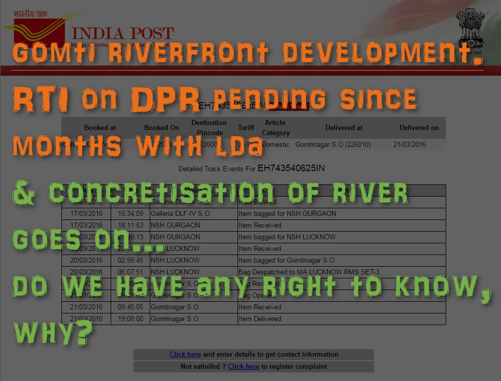 2 Months with no response on request for DPR on Gomti Riverfront Development, after the post reached