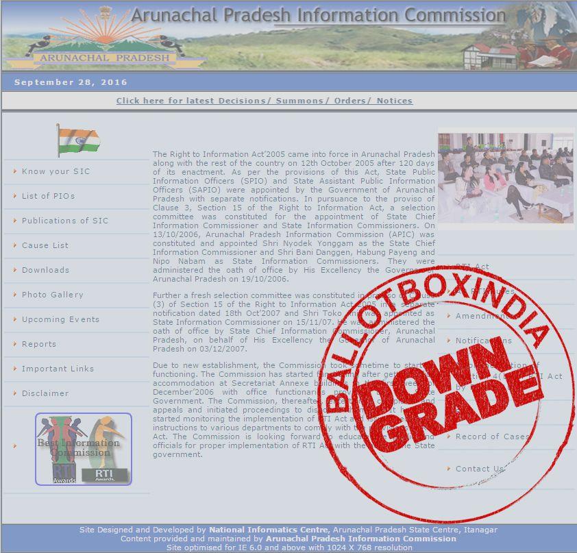 अरुणाचल प्रदेश सूचना आयोग को आरटीआई (सूचना का अधिकार अधिनियम 2005) का जवाब ना देने और आरटीआई की ऑनला