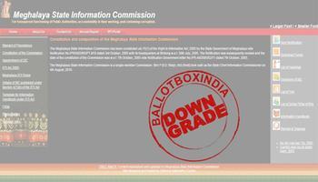 मेघालय सूचना आयोग को आरटीआई (सूचना का अधिकार अधिनियम 2005) का संतोषजनक जवाब ना देने और आरटीआई की ऑनलाइन व्यवस्था ना कर पाने के कारण किया गया डाउनग्रेड