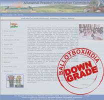 अरुणाचल प्रदेश सूचना आयोग को आरटीआई (सूचना का अधिकार अधिनियम 2005) का जवाब ना देने और आरटीआई की ऑनलाइन व्यवस्था ना कर पाने के कारण किया गया डाउनग्रेड.