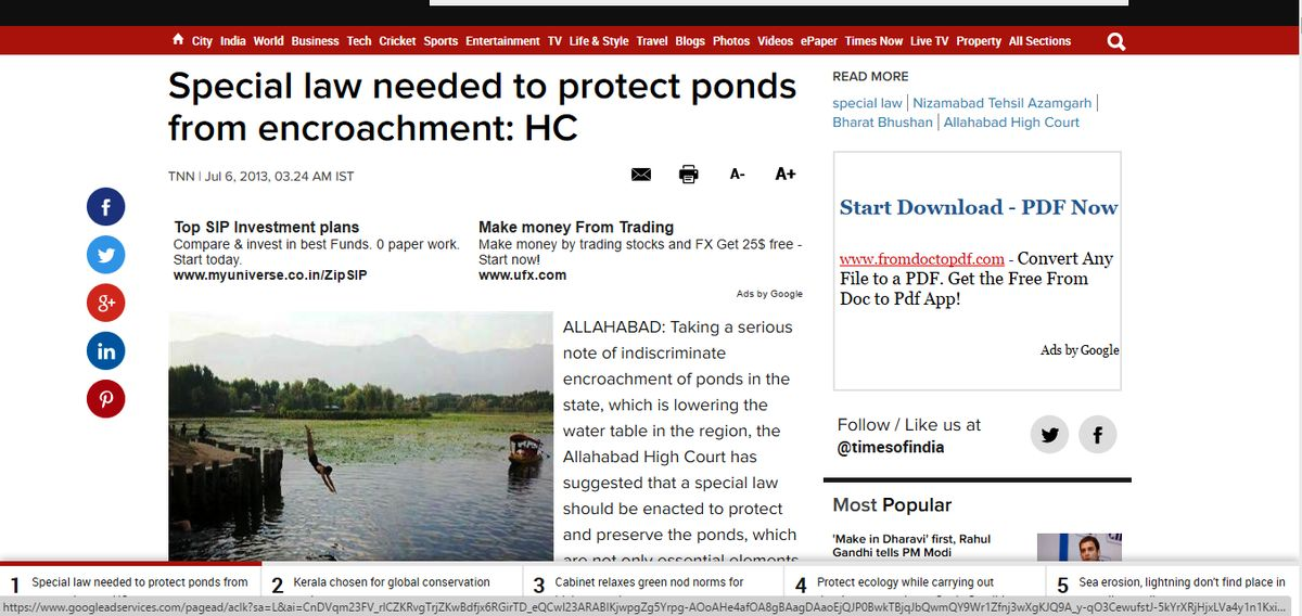 ALLAHABAD HIGH COURT REALIZED THE NEED OF A SPECIAL LAW TO PROTECT PONDS FROM ENCROACHMENT Jul6,2013