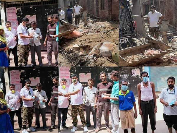 हरबंश मोहाल वार्ड में सफाईकर्मियों, समाचार पत्र विक्रेता और बुजुर्ग राहगीरों को वितरित किये गए मास्क