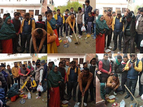 जरौली वार्ड के हरदेव नगर में किया गया सड़क एवं नाली कार्य का शिलान्यास-दिनांक - 4/1/20कानपुर की महारा