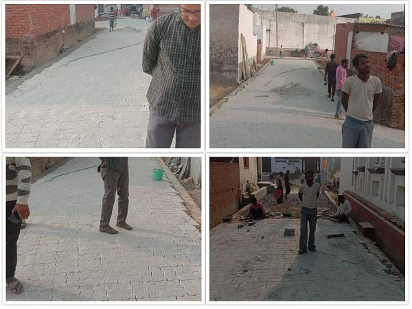 लखनऊ के सरोजिनी नगर प्रथम वार्ड के अंतर्गत गंगा नगर में रोड इंटरलॉकिंग कार्य का शुभारंभ-स्थानीय जनता