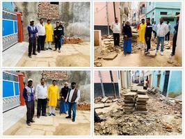 नयी बस्ती वार्ड में गली निर्माण विकास कार्य का किया गया निरीक्षण