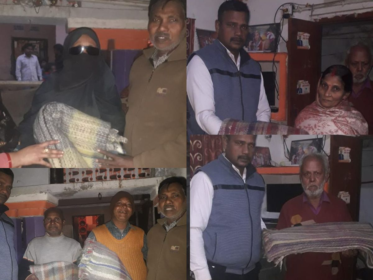 अयोध्या के अंतर्गत अंगूरीबाग क्षेत्र में कम्बल वितरित किए गए-अयोध्या में भीष्ण सर्दी से लोगों के बचा