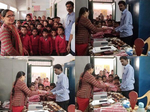 भेलूपुर वार्ड में सरकार ने प्राथमिक विद्यालय में बच्चों को वितरित किए स्वेटर-प्राथमिक