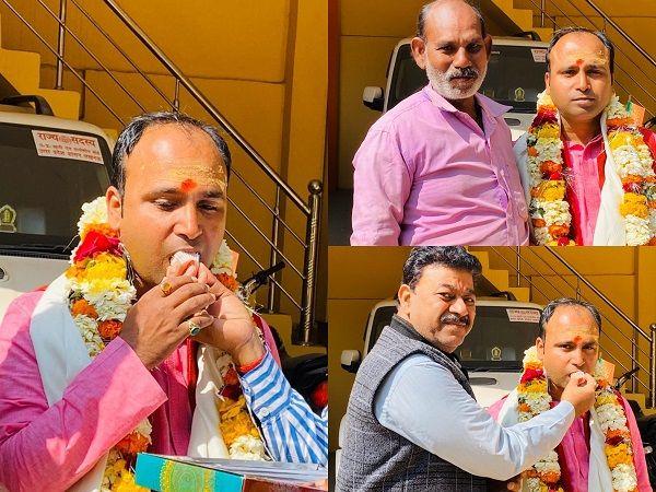 शिवानन्द राय को भाजपा जिला मंत्री बनाए जाने पर पुष्पगुच्छ भेंट किए-निरंतर प्रगति पथ पर अग्रसर भारतीय