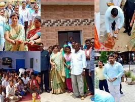 बरिगवां गाँव स्थित आदर्श कुष्ठ आश्रम में शौचालय का लोकार्पण
