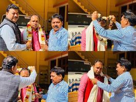 शिवानन्द राय को भाजपा जिला मंत्री बनाए जाने पर पुष्पगुच्छ भेंट किए